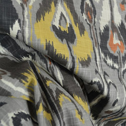 Ikat Bands Greystone Contemporary Drapery Fabric By The Yard - Ikat Bands Greystone Fabric is a Robert Allen Fabric. This contemporary ikat pattern has grey, yellow and a hint of rust red in the pattern. Great cotton fabric for draperies, pillows, bedding and light upholstery.