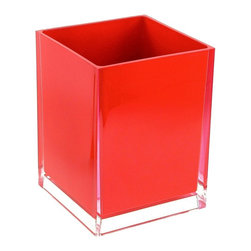 Gedy - Free Standing Waste Basket With No Cover, Red - If your bathroom is in need of a waste basket, why not consider this high-end bathroom waste basket from the Gedy Rainbow collection? Perfect for more contemporary & modern settings, this high quality waste bin is free standing and finished with white, green, blue, red, black, orange, silver, fuschia, or lilac.