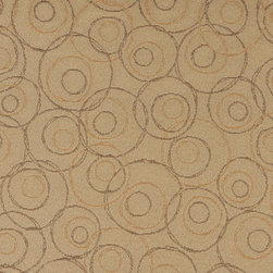Beige Brown and Gold Overlapping Circles Durable Upholstery Fabric By The Yard - P8735 is great for residential, commercial, automotive and hospitality applications. This contract grade fabric is Teflon coated for superior stain resistance, and is very easy to clean and maintain. This material is perfect for restaurants, offices, residential uses, and automotive upholstery.