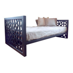 """Used Modernist Day Bed - A Mid-Century lattice twin size daybed in black. This daybed features a clean lined profile from the front and a unique lattice design on the side panes, so it looks great from any angle!     Interior measurements are 39"""" x 75"""", will fit a standard twin mattress. The pillows and mattress in the photos are not included."""