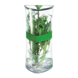 Cuisipro Compact Herb Keeper - Who doesn't enjoy cooking with fresh herbs? Now you can cook with fresh herbs every day without worrying about them spoiling. The Cuisipro Compact Herb Keeper is a stylish solution that keeps herbs fresh for weeks! Store herbs in tray that suspends. The removable tray puts stems in water for freshness and also suspends for draining and easy access to herbs.