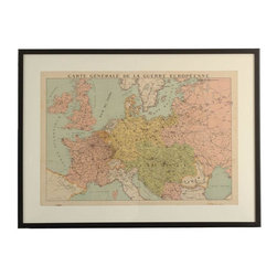 "Pre-owned Framed Vintage Map of Europe - This framed vintage map of Europe is a winner!    From the Seller: ""There are many vintage pieces that I love collecting….maps are one of them. I love the age and patina that most old flags, and displaying them in a sleek black frame sort of brings them back to life. The title of the map of Europe translates to ""General Map of the European War"". Rad. """