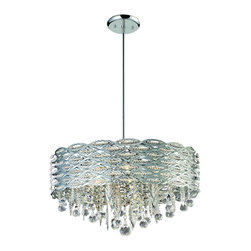 Six Light Chrome Drum Shade Crystal Chandelier - This beautifully crafted chandelier is defined by a steel drum shade, with an intricately woven pattern containing stunning strings of mini crystals.  Finished in chrome, this fixture also contains sectional rods to create a customizable look, and also includes a selection of hanging crystals below.