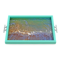 Waves Tray/Wall Art with Boat Cleat Handles - It's a tray; It's wall art. It's BOTH, and It's Made In the USA!