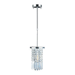 Worldwide Lighting - Torrent 1 light Chrome Finish with Clear Crystal Round Mini-Pendant - This stunning 1-light crystal mini-pendant only uses the best quality material and workmanship ensuring a beautiful heirloom quality piece. Featuring a radiant chrome finish and finely cut premium grade clear crystals with a lead content of 30%, this elegant pendant will give any room sparkle and glamour. Worldwide Lighting Corporation is a premier designer manufacturer and direct importer of fine quality chandeliers, surface mounts, and sconces for your home at a reasonable price. You will find unmatched quality and artistry in every luminaire we manufacture.
