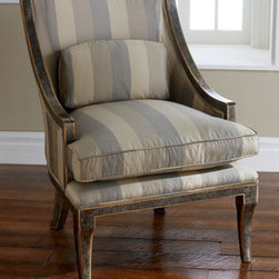 """""""Manhattan"""" Striped Chair - Elegant and feminine, the """"Manhattan"""" striped chair would be beautiful in a living room, bedroom or dressing room.  The feather-and-down-filled seat will ensure a feeling of pampered comfort.Accent pillow included. 27""""W x 31""""D x 39""""H."""