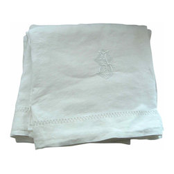 Embroidered French Linen - This is a luscious pair of super fine, antique French linen sheets from the south of France.