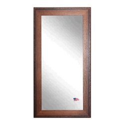 Rayne Mirrors - American Made Rayne Timber Estate Floor Mirror - This American craftsman style floor mirror demonstrates high quality workmanship with a simple yet classic design.  The finish is a warm walnut tone, with a rivet trim accent.  The use of American Made materials and the emphasis on handwork in its construction make this mirror a visibly sturdy structure perfect to decorate with. Rayne's American Made standard of quality includes; metal reinforced frame corner support, both vertical and horizontal hanging hardware installed and a manufacturers warranty.