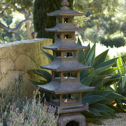 """""""Pagoda"""" Outdoor Sculpture - This pagoda is five feet tall and would make a lovely statement nestled among plants in the garden."""
