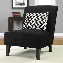 None - Anna Black Accent Chair with Houndstooth Grande Pillow - Enhance your home decor with this stylish Anna black accent chair with espresso finished wood. An S-spring seat and elastic web back construction combine with a black and white houndstooth-patterned pillow to bring style and comfort to this chair.