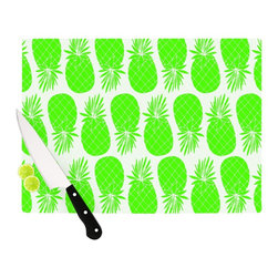 "Kess InHouse - Anchobee ""Pinya Neon Green"" Lime Pattern Cutting Board (11"" x 7.5"") - These sturdy tempered glass cutting boards will make everything you chop look like a Dutch painting. Perfect the art of cooking with your KESS InHouse unique art cutting board. Go for patterns or painted, either way this non-skid, dishwasher safe cutting board is perfect for preparing any artistic dinner or serving. Cut, chop, serve or frame, all of these unique cutting boards are gorgeous."