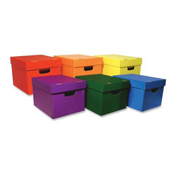 Classroom Keepers - Classroom Keepers Stackable Storage Tote Assortment, Multi-color, Set of 6 - Assortment of colorful totes is perfect for color-coded storage. Classroom Keepers Totes are stackable and conveniently portable with handles. Each box accommodates hanging files and file folders. Six different colors include blue, red, yellow, purple, green and orange. Boxes are recyclable.