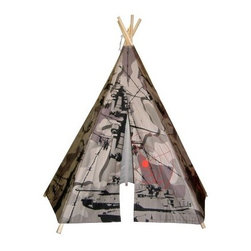 Dexton 6 ft. Hideaway 5 Panel Camouflage Tank Teepee - High adventure awaits as children forge their own frontiers with the Dexton 6 ft. Hideaway 5 Panel Camouflage Tank Teepee. Made with durable canvas, this teepee tent features a handsome camouflage silkscreened pattern to help it blend into a natural environment. Perfect for indoor or outdoor play, it is water-repellent, fire-resistant, and easy to set up.About DextonDexton has been manufacturing distinguished, high-quality children's musical instruments and ride-ons for over 10 years. Located in the Orange County area of Southern California, its factories produce 50 of the most popular musical instruments to professional standards that music teachers prefer. Dexton also produces a wide assortment of battery-powered and pedal car ride-ons, as well as children's furniture. Dexton uses the highest-quality wood, leather, and chrome-plated steel when manufacturing its safe, kid-friendly products.