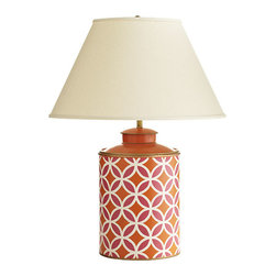 Kaleidoscope Lamp - Handmade from sheets of iron, this lamp is based on old storage tins once used to import tea into England. The fun and vibrant design comes from something a bit more magical. Upon first glance, the pattern reminded us of old kaleidoscopes that captured our imaginations as children. It could also bear a close likeness to Moroccan tile and window patterns. Maybe it's just a bunch of circles. We'll leave it up to you to decide.
