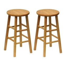 Winsome Trading, INC. - Winsome Wood Wood 24-Inch Counter Stools, Set of 2, Natural Finish - Set of 2 solid wood construction counter height stools. 13 seat is beveled for comfort. This basic design fits well with all decor. Natural finish blends well with all types of wood, metal, upholstered furnishings