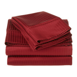 1000 Thread Count Egyptian Cotton King Burgundy Stripe Sheet Set - 1000 Thread Count Egyptian Cotton oversized King Burgundy Stripe Sheet Set