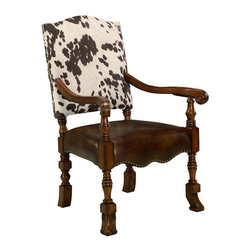 Comfort Pointe - Jaxon Accent Chair - High Back. Bonded leather seat with a printed microfiber back. Solid Wood Construction. Minor Assembly Required. Nailhead trim accents this masculine chair. Fabric: Bonded leather seat, microfiber back. Fabric Content: 100% poly. Finish: Medium Walnut Finish. Seat Height: 18.75 inches. Arm Height: 26.5 inches. 27.5 in. W x 29.25 in. D x 42 in. H (39 lbs.)The stylish Jaxon arm chair will make a fashion statement in any home. The cowhide print microfiber back and bonded leather seat are a great combination and are accented with nailhead trim.  The sloped arms tie in nicely with the curved apron and the turned and shaped legs.  A medium walnut finish on the exposed wood sets the tone for this chair.