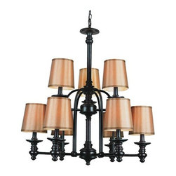 Trans Globe Lighting - Trans Globe Lighting 9629 Nine Light Up Lighting Two Tier Chandelier Mo - Nine Light Two Tier Chandelier from the Modern Meets Traditional Collection