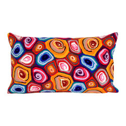 """Jewel Murano Swirl Print 12"""" X 20"""" Throw Pillow - This wonderful indoor / outdoor decorative throw pillow looks great in living rooms or patios or wherever you want a dash of color. Made of 100% polyester microfiber. The cover has a zipper closure so you can take out the fiberfill inner pillow for hand-washing if you need to. The pillow measures 12 inches by 20 inches."""