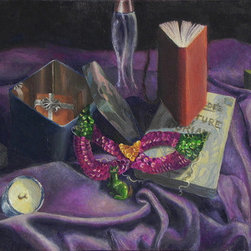 """The Harlequin'S Still-Life"" (Original) By Sarina  Mitchel - This Is A Still-Life Painting, Painted In Oils From Observation. I Invested A Good Deal Of Time Into Painting The Beautiful Light And Shadow Of The Objects That I Set Up. My Favorite Part Of This Painting Is The Sequined Mask."