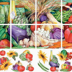 IdeaStix - Vegetable Medley 8-Piece Mural IdeaStix Peel and Stick - IdeaStix Mural transforms an ordinary tiles and such into beautiful art decorations.  Made from proprietary rubber-resin, 8-Piece Mural + Accents Premium Peel and Stick Tile Decor is sized for 4.5 x 4.5 inch tiles and offers a quick and easy solution of having a great Tile Mural in kitchen or bath/shower.  With water/heat/steam-resistant, nontoxic, washable, removable and reusable features, it is ideal for kitchen backsplash and bath/shower tile cecoration and suitable for smooth and non-porous tile surfaces in hot, wet and humid areas.  Surface can be washed with most household cleaning products.