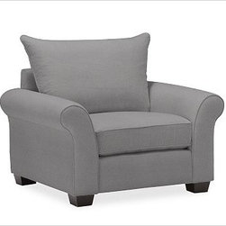 """PB Comfort Upholstered Grand Armchair, Knife-Edge Cushion, Down-Blend Wrap Cushi - Built by our own master upholsterers in the heart of North Carolina, our PB Comfort Upholstered Grand Armchair is designed for unparalleled comfort with deep seats and three layers of padding. 46.5"""" w x 42"""" d x 39"""" h {{link path='pages/popups/PB-FG-Comfort-Roll-Arm-4.html' class='popup' width='720' height='800'}}View the dimension diagram for more information{{/link}}. {{link path='pages/popups/PB-FG-Comfort-Roll-Arm-6.html' class='popup' width='720' height='800'}}The fit & measuring guide should be read prior to placing your order{{/link}}. Choose polyester wrapped cushions for a tailored and neat look, or down-blend for a casual and relaxed look. Choice of knife-edged or box-style back cushions. Proudly made in America, {{link path='/stylehouse/videos/videos/pbq_v36_rel.html?cm_sp=Video_PIP-_-PBQUALITY-_-SUTTER_STREET' class='popup' width='950' height='300'}}view video{{/link}}. For shipping and return information, click on the shipping tab. When making your selection, see the Quick Ship and Special Order fabrics below. {{link path='pages/popups/PB-FG-Comfort-Roll-Arm-7.html' class='popup' width='720' height='800'}} Additional fabrics not shown below can be seen here{{/link}}. Please call 1.888.779.5176 to place your order for these additional fabrics."""