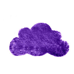 FurAccents - Soft Shaggy Faux Fur Cloud Accent Rug Kids Room, Purple Grape, 3'x5' - A Cute and Unique Accent Rug. Richly Colored Shaggy Faux Fur. Our Classic Cloud Shape Design. Made from 100% Animal Free and Eco Friendly Fibers. Perfect for a Baby Nursery or Child's Room or any room in the house. Skilfully made and Tastefully lined with Color Coordinated Parchment Ultra Suede. Luxury, Quality and Unique Style for the most discriminating designer/decorator.