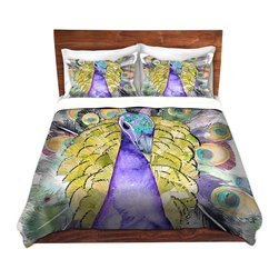 DiaNoche Designs - Duvet Cover Twill - Peacock - Lightweight and soft brushed twill Duvet Cover sizes Twin, Queen, King.  SHAMS NOT INCLUDED.  This duvet is designed to wash upon arrival for maximum softness.   Each duvet starts by looming the fabric and cutting to the size ordered.  The Image is printed and your Duvet Cover is meticulously sewn together with ties in each corner and a concealed zip closure.  All in the USA!!  Poly top with a Cotton Poly underside.  Dye Sublimation printing permanently adheres the ink to the material for long life and durability. Printed top, cream colored bottom, Machine Washable, Product may vary slightly from image.