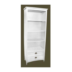 Wayborn - 4 Shelves Bookcase w Drawers - Made from Birchwood. Smooth finish. Assembly required. 32 in. W x 16 in. D x 82 in. H (138 lbs.)