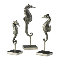 Cyan Design - Cyan Design Sculptural Seahorses on Stand (Pack of 3) X-56810 - This set of three Cyan Design sculptural seahorses quickly draws your eye using updated finishes and lifelike detailing. The three seahorses are each suspended on a single stem. They feature a different size and height, creating visual depth and elegant interest. Chrome finishing and cast iron complete the designs.