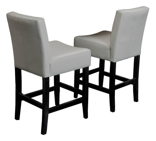 Great Deal Furniture - Lowry Ivory Leather Counter Stool (set of 2) - Add comfort to your home with our Lowry Leather Counter Stool. With its soft ivory leather and well padded seats, this piece makes an ideal seat for any get together. Built from hardwood with espresso stained legs, our Lowry counter stool is build to last for years to come.