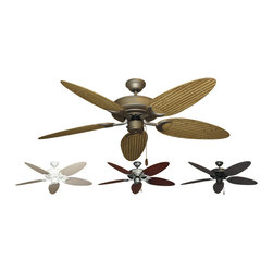 """Outdoor Ceiling Fans (Wet Rated) - The Raindance Tropical Outdoor Ceiling Fan with 52"""" ABS Plastic Bamboo / Palm Leaf  Blades is the premier ceiling fan for indoor and outdoor use. It is U.L. approved for wet locations making it ideal for non-roofed or roofed locations. The motor is enclosed in a water resistant housing and treated with a special paint process, including a galvanized undercoat, and has stainless steel hardware. Heavy duty blade irons are also featured with extra high blade pitch and non-warp blades. The sum of these fine features is a fan which resists rust brought about by salt, dust and moisture. The Raindance is available in White, Pure White, Brushed Steel, Matte Black, Antique Bronze, Oil Rubbed Bronze or Wine. The Bamboo / Leaf blades are doule sided with tropical designs and are ABS plastic. One side as a Bamboo pattern while the other side has a palm leaf pattern."""