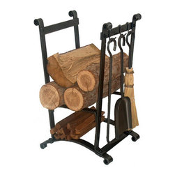 "Enclume - Premier Compact Curved Log Rack With Tools - Dimensions: 13""L x 15""W x 25""H"
