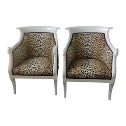 """Leopard Print Italian Chairs - A Pair - Hello, Me-ow! This fabulous pair of white lacquered italian chairs are covered in Leopard fabric by Boussac. The seat height is 16"""". Purr-fect for the boudoir or lounge area."""