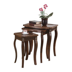 Coaster - 3-piece Warm Brown Curved-leg Nesting Table Set - This 3-piece nesting table set will add style and function to your home decor. Whether used as end tables,plant stands,drink tray and more,each table features curved legs with gold painted accents and carvings for a classic look.