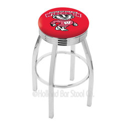 "Holland Bar Stool - Holland Bar Stool L8C3C - Chrome Wisconsin Swivel Bar Stool - L8C3C - Chrome Wisconsin Inch Swivel Bar Stool w/ 2.5 Inch Ribbed Accent Ring belongs to College Collection by Holland Bar Stool Made for the ultimate sports fan, impress your buddies with this knockout from Holland Bar Stool. This contemporary L8C3C logo stool has a single-ring chrome base with a 2.5"" cushion and a 3"" chrome ribbed accent ring that helps the seat to ""pop-out"" at glance. Holland Bar Stool uses a detailed screen print process that applies specially formulated epoxy-vinyl ink in numerous stages to produce a sharp, crisp, clear image of your team's emblem. You can't find a higher quality logo stool on the market. The plating grade steel used to build the frame is commercial quality, so it will withstand the abuse of the rowdiest of friends for years to come. The structure is triple chomed to ensure a rich, sleek, long lasting finish. Construction of this framework is built tough, utilizing solid mig welds. If you're going to finish your bar or game room, do it right- with a Holland Bar Stool. Barstool (1)"
