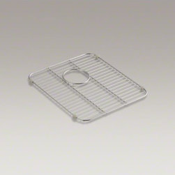"""KOHLER - KOHLER Stainless steel sink rack, 17-3/10"""" x 17-3/10"""" for K-3171 Undertone(R) an - Designed to sit inside the basin of K-3171 Undertone and K-3171-HCF Undertone Preserve double-equal sinks, this stainless-steel rack helps safeguard your fragile dishes and provides a flat work surface in the sink bowl. Innovative wheels positioned on the"""