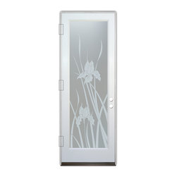 Sans Soucie Art Glass (door frame material Plastpro) - Glass Front Entry Door Sans Soucie Art Glass Iris Private - Sans Soucie Art Glass Front Door with Sandblast Etched Glass Design. Get the privacy you need without blocking light, thru beautiful works of etched glass art by Sans Soucie!This glass provides 100% obscurity.Door material will be unfinished, ready for paint or stain.Bronze Sill, Sweep.Satin Nickel Hinges. Available in other finishes, sizes, swing directions and door materials.Dual Pane Tempered Safety Glass.Cleaning is the same as regular clear glass. Use glass cleaner and a soft cloth.
