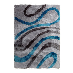 Rug - High Quality Gray/Blue Living Room Shaggy Area Rug, Gray/Blue, 4 X 6 Ft., Geomet - SHAGGY VISCOSE  DESIGN COLLECTION