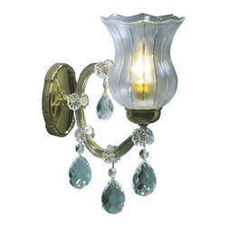 """Inviting Home - Maria Theresa Crystal Sconces (Select Crystal) - Maria Theresa style crystal sconce with cut crystal trimmings; 5""""W x 10""""D x 14""""H; assembly required; 1 light select Maria Theresa style crystal sconce with hand-molded arms frosted crystal components and cut crystal trimmings; all metal parts have gold finish; genuine Czech crystal; ready to ship in 2 to 3 weeks; This wall sconce is a part of Maria Theresa Collection. At their start the chandeliers bearing the name of Maria Theresa were made on the occasion of the Empress's coronation as queen of Bohemia in 1743. This fact is hidden in the shape of these lighting fixtures reminiscent of the royal crown. Their characteristic feature is the arms' typical flat surface clad with glass bars. The bars are fixed to the arms by glass rosettes and beads with dangling cut crystal chandelier trimmings. These ravishing fixtures were inspired by a chandelier made for Maria Theresa in Bohemia in the mid 18th century. However not only the empress became fond of it; so did many others who fancied the style and the majestic manners after her. Typical elements are metal arms overlaid with glass bars and decorated with crystal rosettes. Originally the trimming was made of typical flat drops called """"pendles"""". Today trimmings of various shapes are used. Select crystal (or standard). Hand cut or partly machine cut chandelier trimmings. Inspired by rich glassmaking tradition as well as modern trends these crystals are characterized by distinct fire rainbow sparkle and purity of shape. Each piece is checked for accuracy of cut and its high quality is guaranteed. They will satisfy even the most discriminating customers. Chandelier trimmings of the Select type offer an opportunity to those searching for quality at a great value. Every component passes thorough strict internal Quality Control processes. Highest quality European production with certified standards. The tradition of production luxurious appearance and classical mo"""