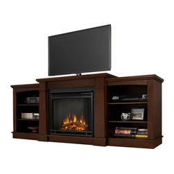 "Real Flame - Hawthorne Electric Fireplace in Dark Espresso - Includes: Mantel, firebox and remote control, screen kit. Shelf dimensions:18.25""W X 15.25""D. Fits up to a 50""(diagonal) TV, 100 lb. weight limit. 1400 Watt, 4780 BTU/hr. heater. Programmable thermostat with display in Fahrenheit or Celsius. Ultra Bright LED technology with 5 brightness settings. Digital readout display with up to 9 hours timed shut off. Dynamic ember effect. 74.72 in. W x 18.82 in. D x 29.88 in. H (149 lbs.)The Hawthorne Electric Fireplace features mission inspired details, arched side panels, a multi level top surface and room for media and A/V component storage; doubling it's use as an entertainment unit. Supports most TV's weighing 100 lbs. or less. The Vivid Flame Electric Firebox plugs into any standard outlet for convenient set up. thermostat, timer function, brightness settings and ultra bright Vivid Flame LED technology."