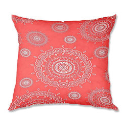 DiaNoche Designs - Pillow Linen - Monika Strigel Infinity Coral - Add a little texture and style to your decor with our Woven Linen throw pillows. The material has a smooth boxy weave and each pillow is machine loomed, then printed and sewn in the USA.  100% smooth poly with cushy supportive pillow insert with a hidden zip closure. Dye Sublimation printing adheres the ink to the material for long life and durability. Double Sided Print, machine wash upon arrival for maximum softness. Product may vary slightly from image.