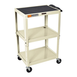 H. Wilson - Adjustable Mobile AV Cart in Putty - Three shelves. Three outlet electrical assembly with 15 ft. cord. Non-slip rubber mat for top shelf. Arc-welded shelves. Top and middle shelves holes for cable management. Four 4 in. full swivel ball bearing casters two with locking brake. 0.25 in. retaining lip around each shelf. Weight capacity: Up to 200 lbs.. 24 in. L x 18 in. W x 24 in. - 42 in. H. Warranty. Assembly Instructions
