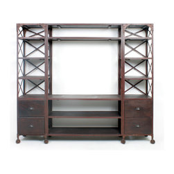 "Factory Entertainment Unit - Go big, go bold, go high/low! The rustic iron roll-away can house all your electronic devices and gear in a combination of open shelving and deep drawers. The stylish ""X"" bracing is both current and utilitarian."