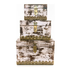 "Everybody's Ayurveda - Set of Three Aged Nesting Distressed Boxes in Ivory - Nesting Distressed Ivory Boxes Set of three. Boxes fit inside each other. Made in India. Dimensions: (Large) 10.6"" x 5"" x 6"" (Medium) 8"" x 5"" x 5"" (Small) 6.5"" x 4"" x 3.5"" Hand crafted with a distressed finish, this set of boxes can be used together or separately - decor and storage all in one!Package Includes:Distressed Boxes OnlyDimensions:Width: 10.6 inch"