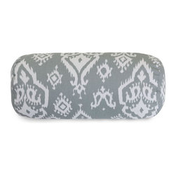 Majestic Home Goods - Gray Raja Round Bolster Pillow - Add a splash of color and a little texture to any room with these plush pillows by Majestic Home Goods. The Majestic Home Goods round bolster pillow will instantly lend a comfortable look to your living room, family room or bedroom. Whether you are using them as decor throw pillows or simply for support, Majestic Home Goods round bolster pillows are the perfect addition to your home. These throw pillows are woven from Cotton Twill, and filled with Super Loft recycled Polyester Fiber Fill for a comfortable but durable look. Spot clean only.