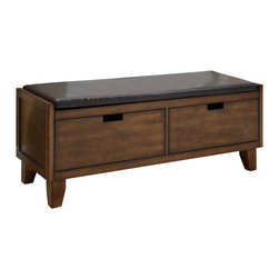 "Monarch Specialties - Monarch Specialties Transitional Solid Wood Bench w/ 2 Drawers in Walnut - Accentuate your entrance way with this 48""long bench. Conveniently stow away blankets, scarves and mitts in the drawers or simply sit on it while you put on your shoes! This dark walnut solid wood bench and exquisitely cushioned seat offer sturdy support. This bench that can also be used as an accent piece in your home, it will no doubt give a warm feel to any decor. What's included: Bench (1)."
