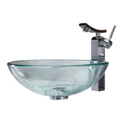 Kraus - Kraus Clear Glass Vessel Sink and Unicus Faucet - Add a touch of elegance to your bathroom with a glass sink combo from Kraus.