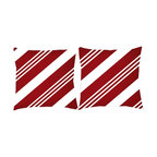 RoomCraft - Set of 2 Christmas Holiday Pillows, Red, Red - White Stripe, Covers Only - FEATURES: