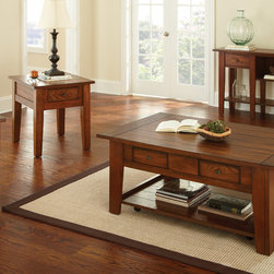 """Steve Silver Furniture - Steve Silver Desoto 4 Piece Coffee Table Set w/ Casters in Dark Oak - The rustic country look of the Desoto Collection is the height of simple, uncomplicated style.  The Desoto cocktail table in a dark oak finish stands 20"""" high, with a spacious 50"""" x 32"""" top, two convenient storage drawers, and a bottom shelf.  Hidden casters make this table a breeze to move.  This impressive piece complements the Desoto end table and sofa table. - DE200CAS-4-SET.  Product features: Dark Oak Finish; Cottage / Farmhouse Styling; Two Drawer Storage; Casters for Mobility; Mortise / Tenon & Tongue / Groove Joints. Product includes: Cocktail Table (1); End Table (1); Chairside End Table (1); Sofa Table (1). 4 Piece Coffee Table Set w/ Casters in Dark Oak belongs to Desoto Collection by Steve Silver."""